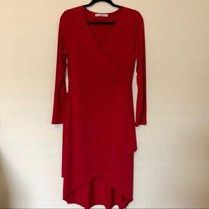 Wrap style burgundy dress